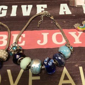 🦋Beaded Rhines&Charm bracelet s-xl Adj🦋